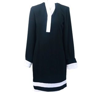 Calvin Klein Black White Long Sleeve Sheath Dress